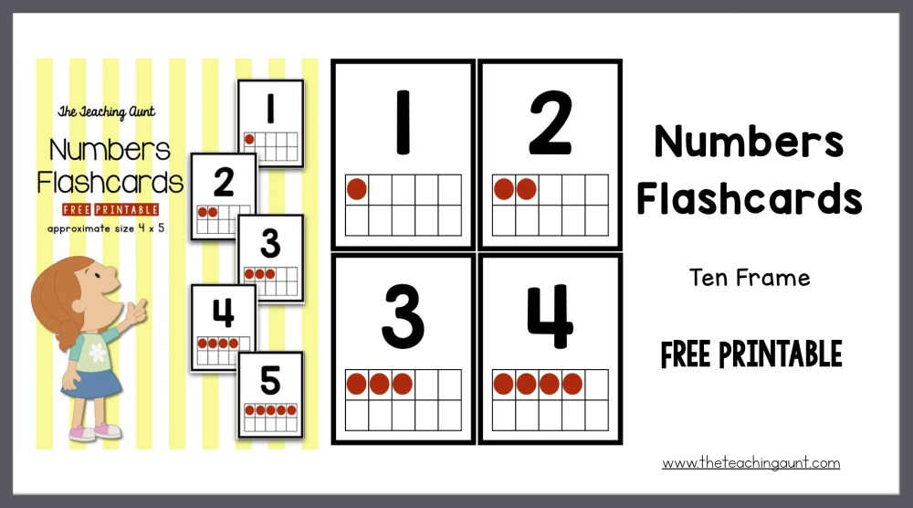 Numbers Flashcards Ten Frame - The Teaching Aunt