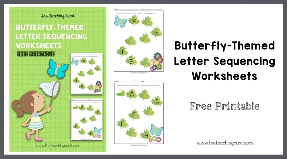Butterfly-Themed Letter Sequencing Worksheets Free Printable from The Teaching Aunt