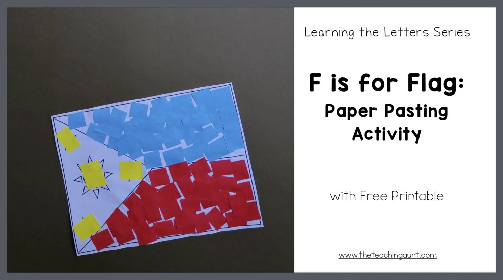 F is for Flag: Paper Pasting Activity from The Teaching Aunt