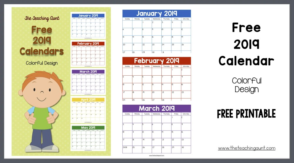 Free 2019 Colorful Calendar from The Teaching Aunt Free Printable