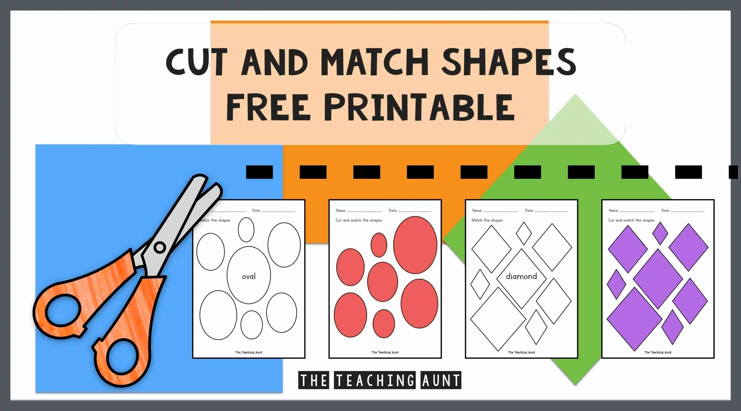 Cut and Match Shapes Worksheets - The Teaching Aunt