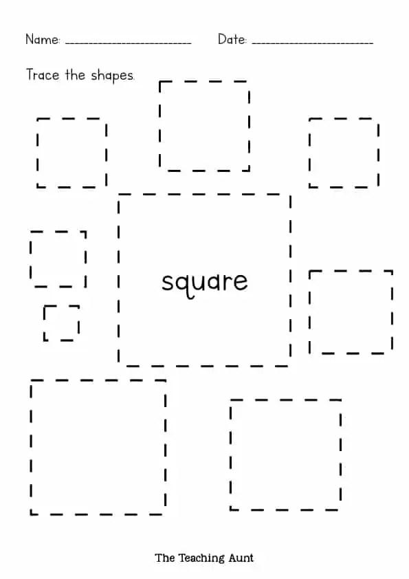 Shape Tracing Worksheets For Kindergarten