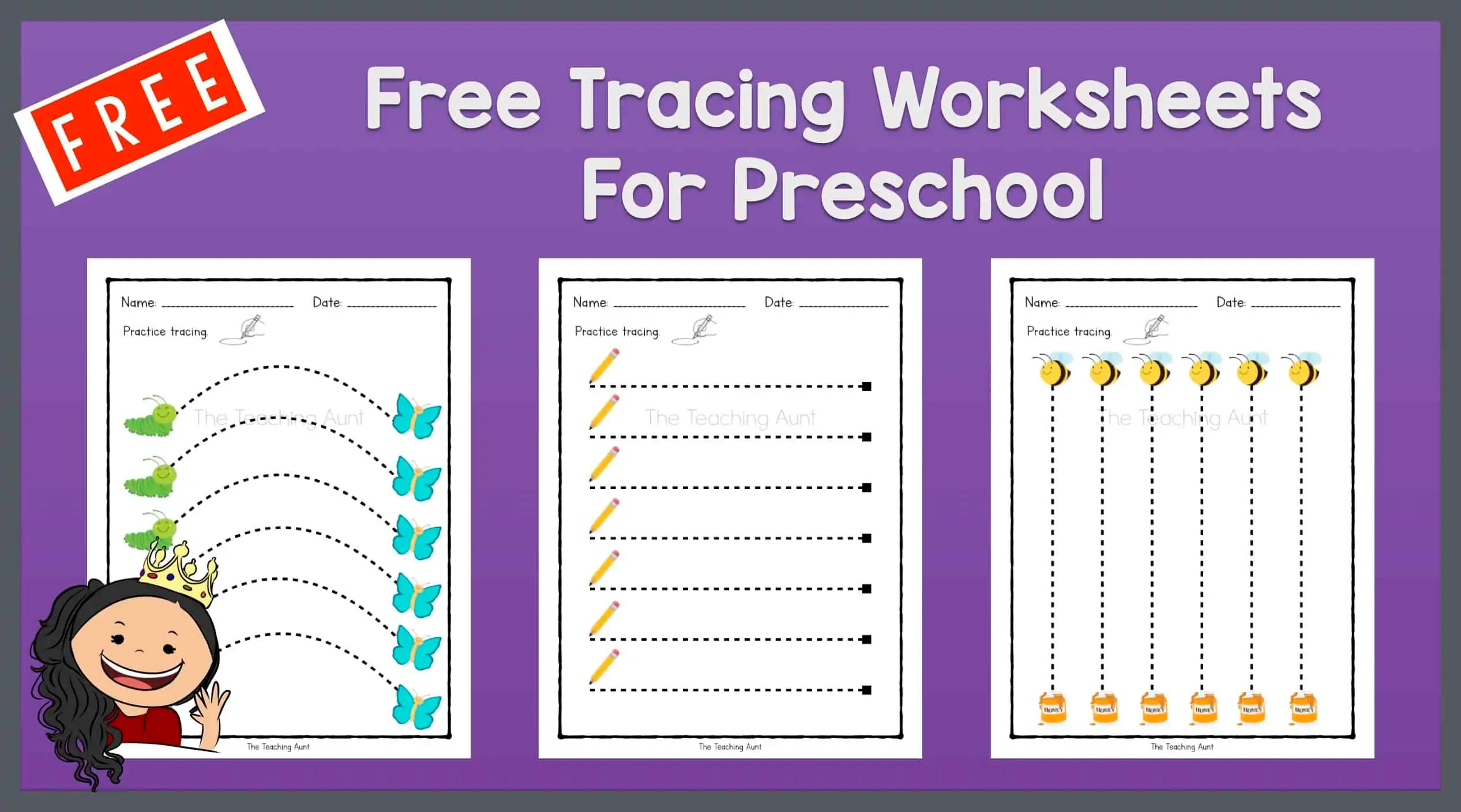 Free Tracing Worksheets for Preschool - The Teaching Aunt