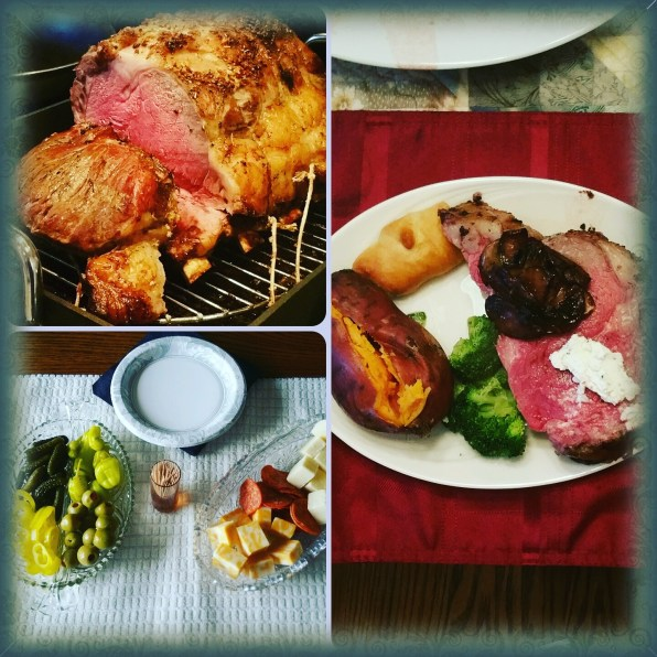prime rib topped with sauteed mushrooms and boursin cheese, sweet potato, crescent roll, broccoli. And our modest snacks (shrimp not shown)