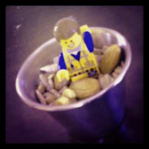 LEGO minifigure in cup of nuts 2014