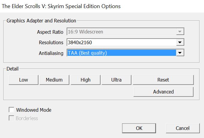 skyrim special edition medium high ultra