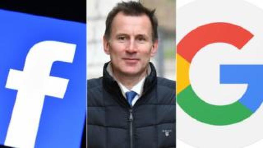 Facebook logo, Jeremy Hunt, Google logo