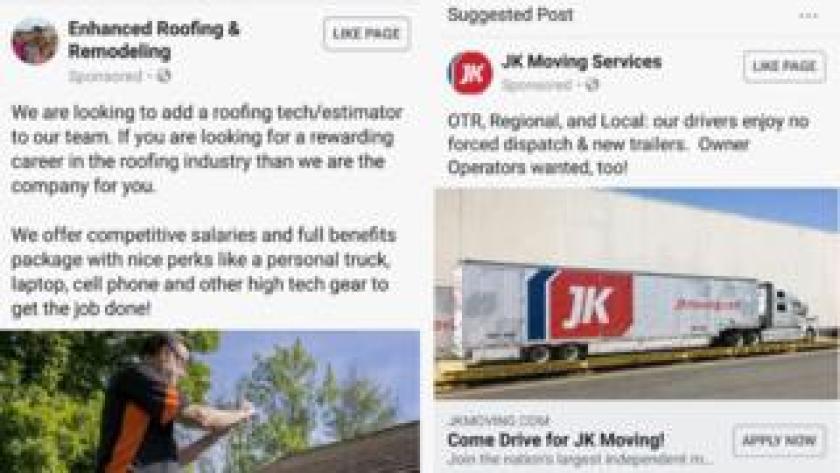 Facebook job ads