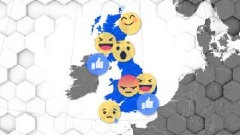 A map of Britain with a load of emojis all over it