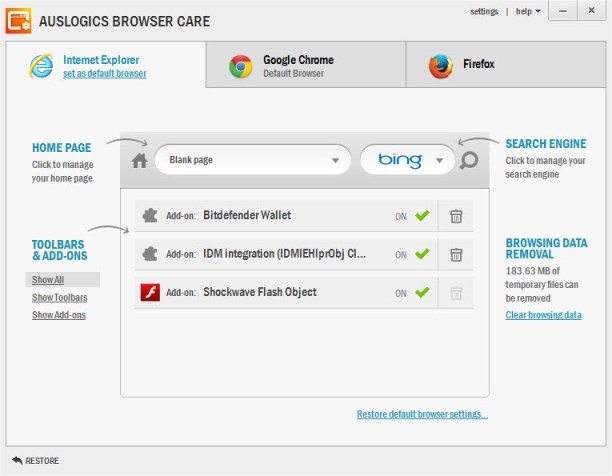 Auslogics Browser Care User Interface