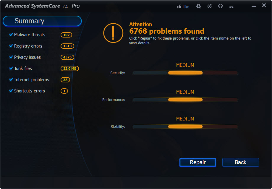 Advanced SystemCare Scan Results