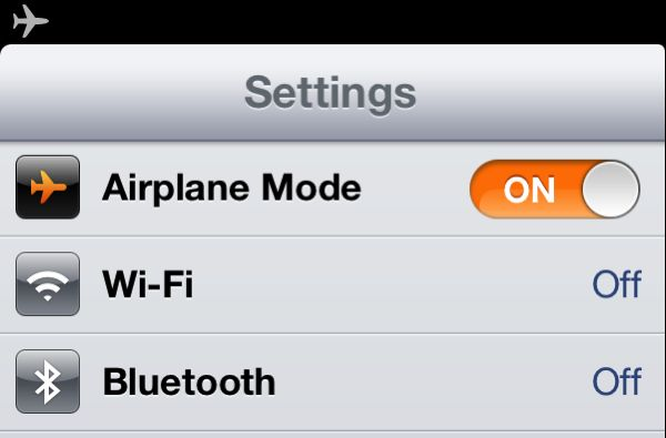Enable Airplane Mode iOS