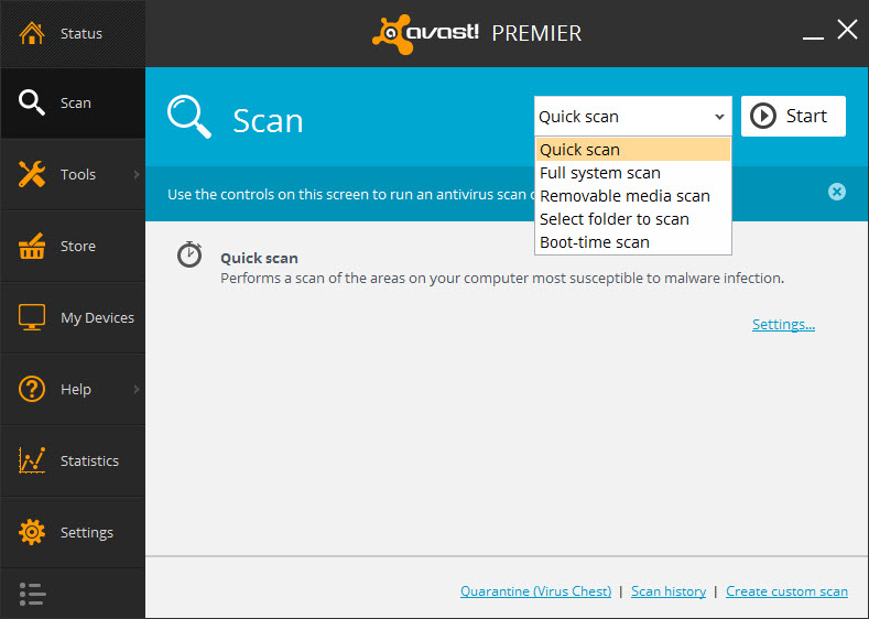 avast boot time scan options