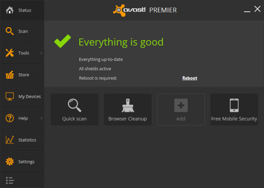 Avast Premier 2014 User Interface