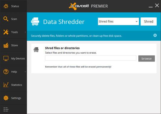 Avast Premier Data Shredder