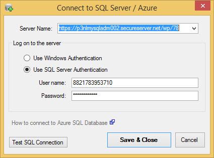 SQL Server Azure Connection