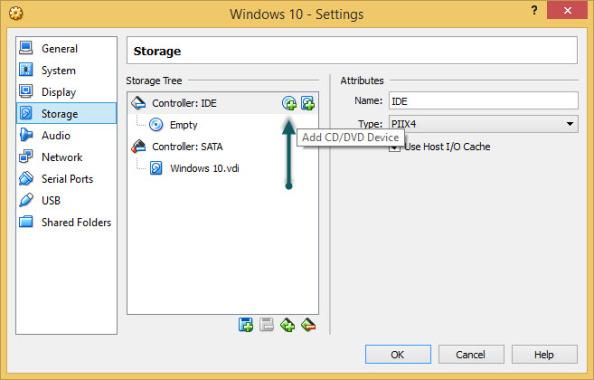 VirtualBox Add CD button