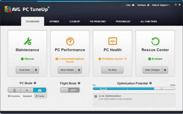 AVG PC TuneUp 2015 Main Dashboard