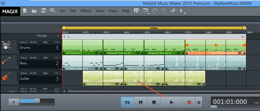 how to fix the play button in magix music maker
