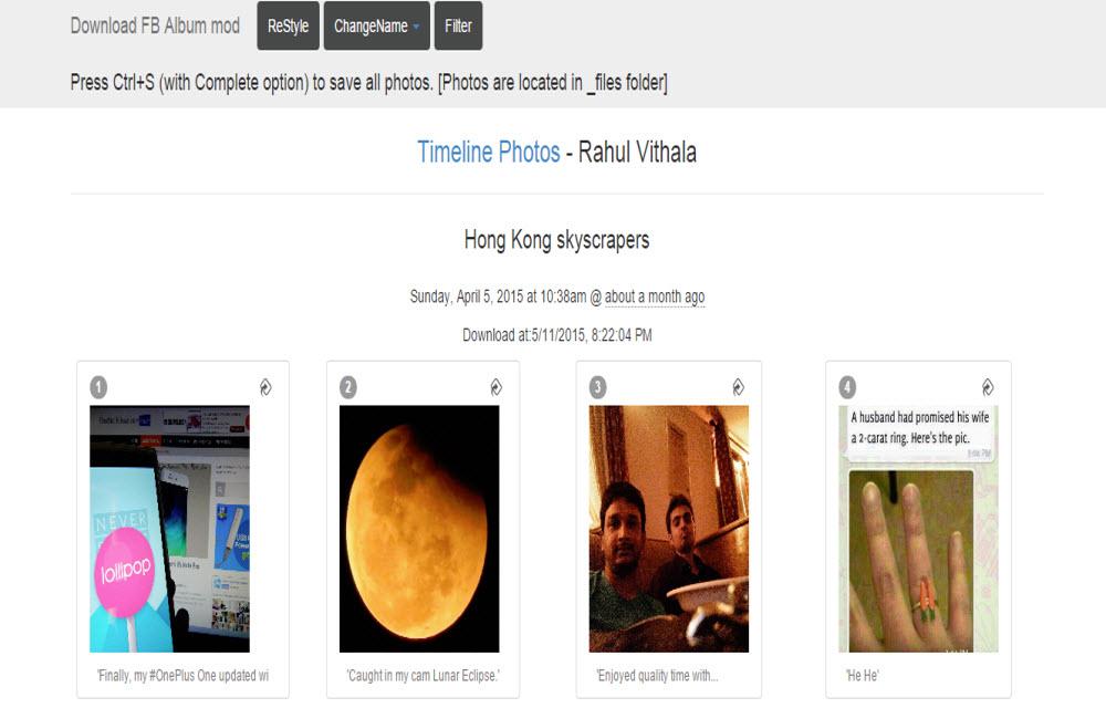 Downloading Facebook photos