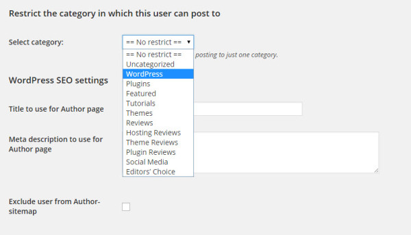 How to category restrict authors in wordpress