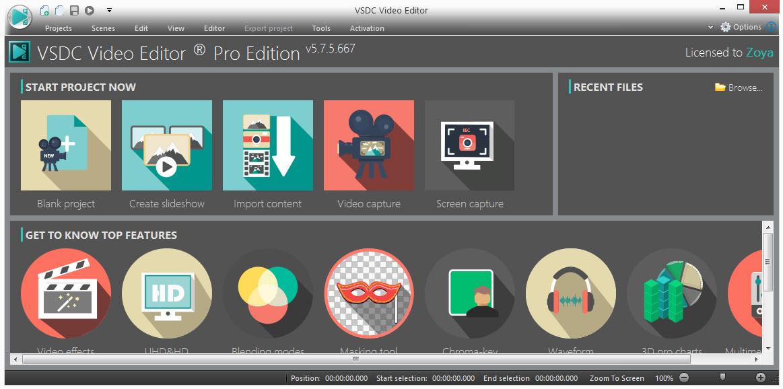 VSDC Free Video Editor Interface