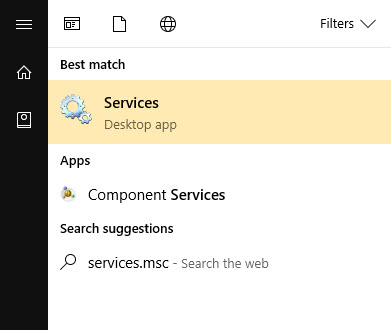 typing services.msc into the Search box