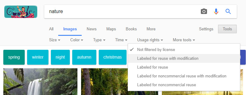 Labelled for reuse with modification Images in Google
