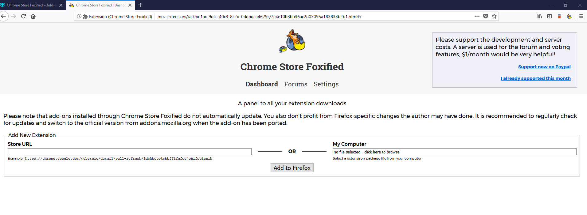 Chrome Store Foxified Dashboard