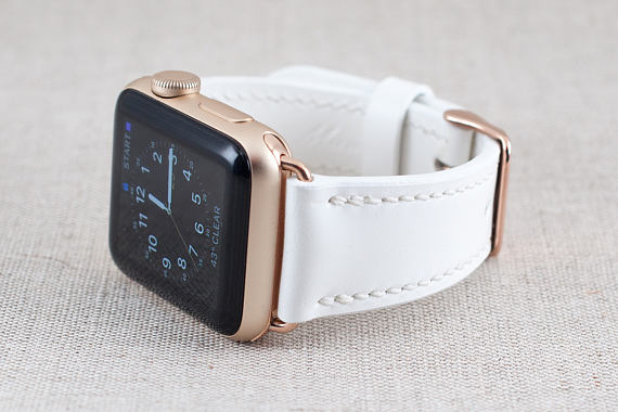 Etsy 42MM Apple Watch Band- Buttero Leather White