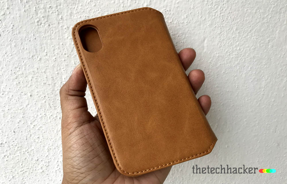 Jisoncase Microfiber Leather Wallet Case for Apple iPhone X Rear Side