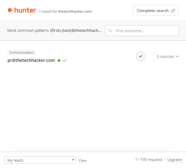 Hunter Email Finder