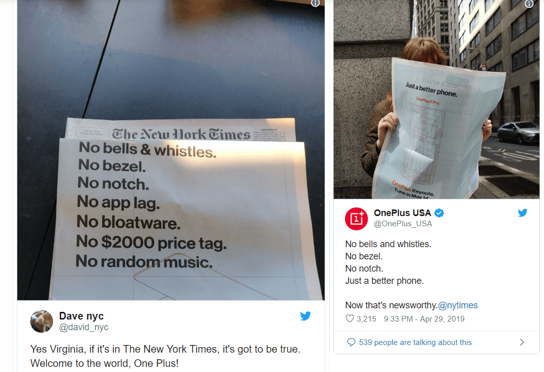OnePlus 7 Pro promotional ads in NYT