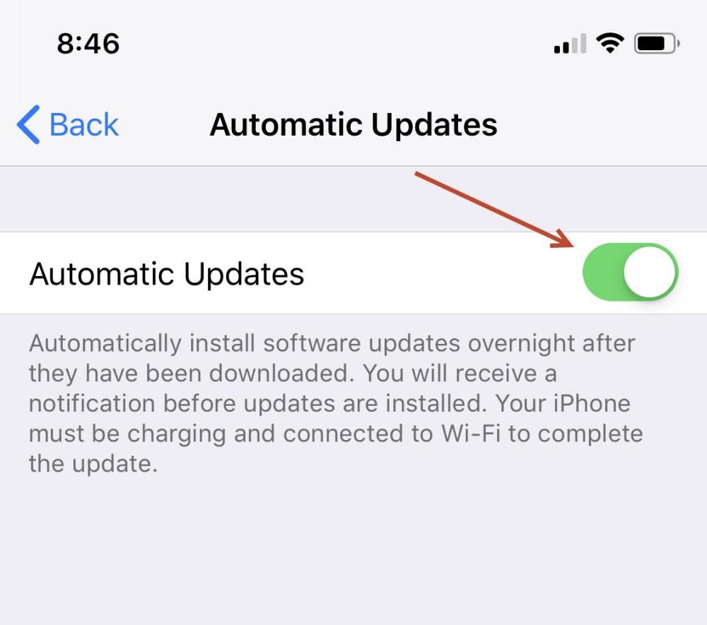 Toggle automatic updates option