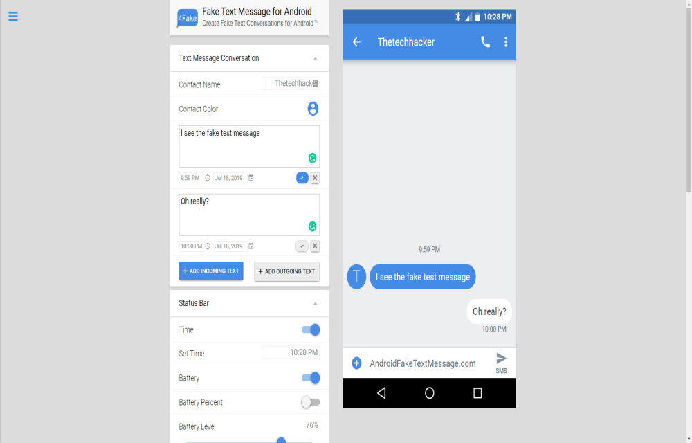Android Fake Text