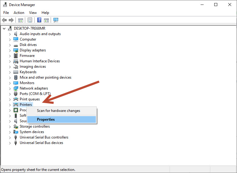 Printer properties in Device Manager