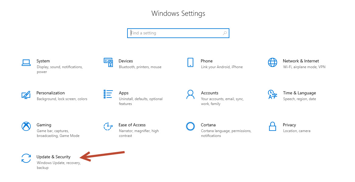Windows Settings-Update and security
