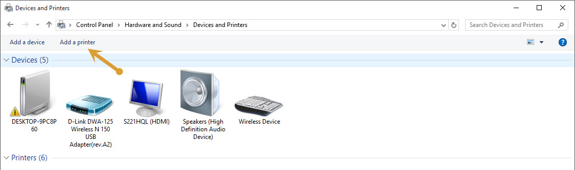 Add a printer option in Control Panel