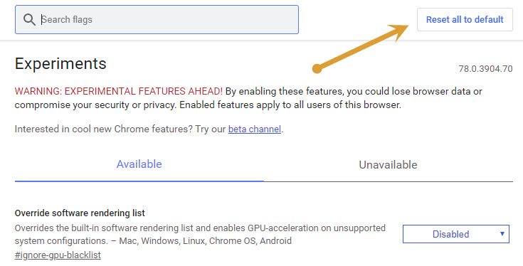 Reset all to default in Chrome Flags window