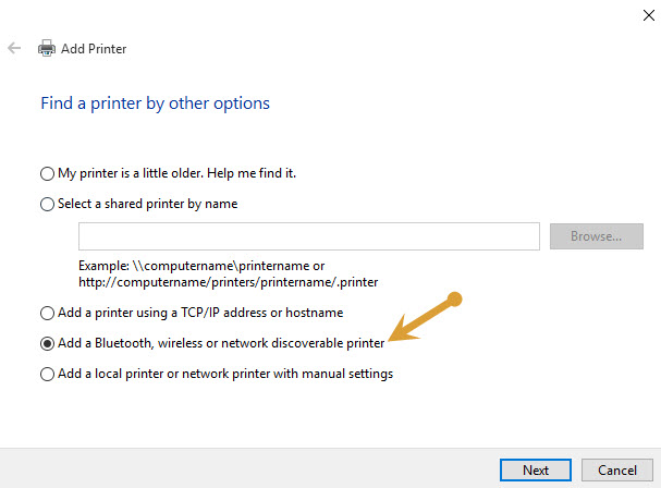 adding a printer by Bluetooth and Wireless connections