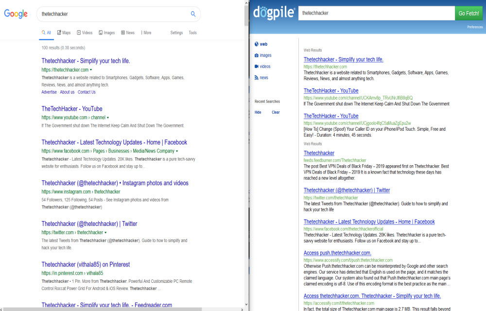 Google and Dogpile search results comparison for thetechhacker