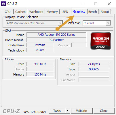CPU-Z Graphic card details
