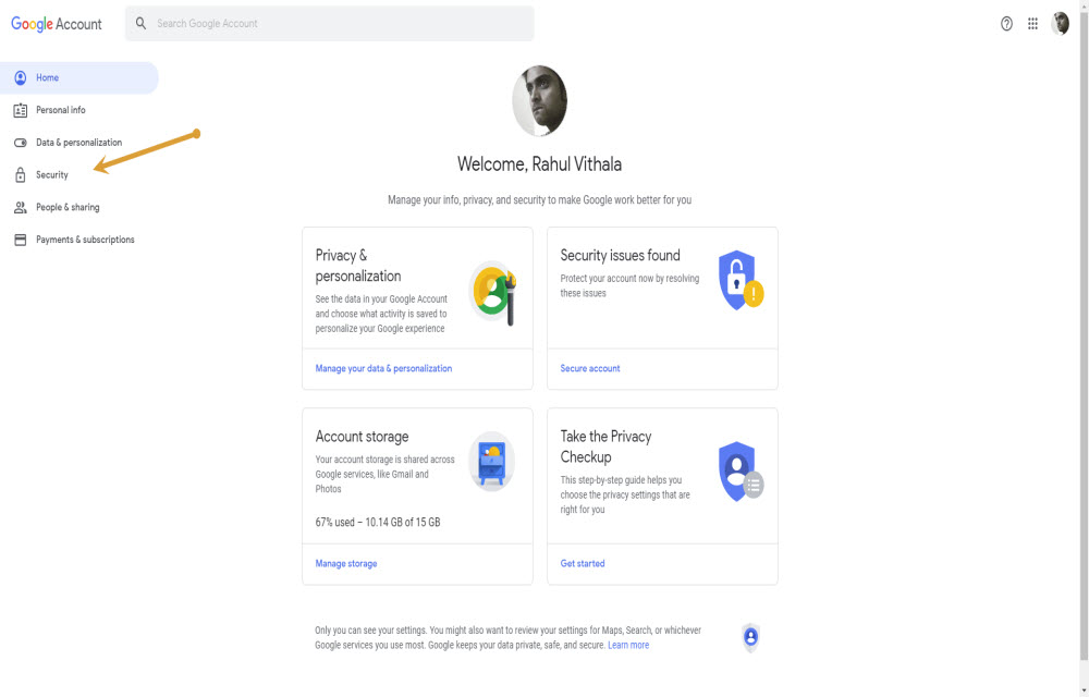 Google Security options