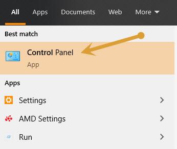 Control Panel in Windows start search