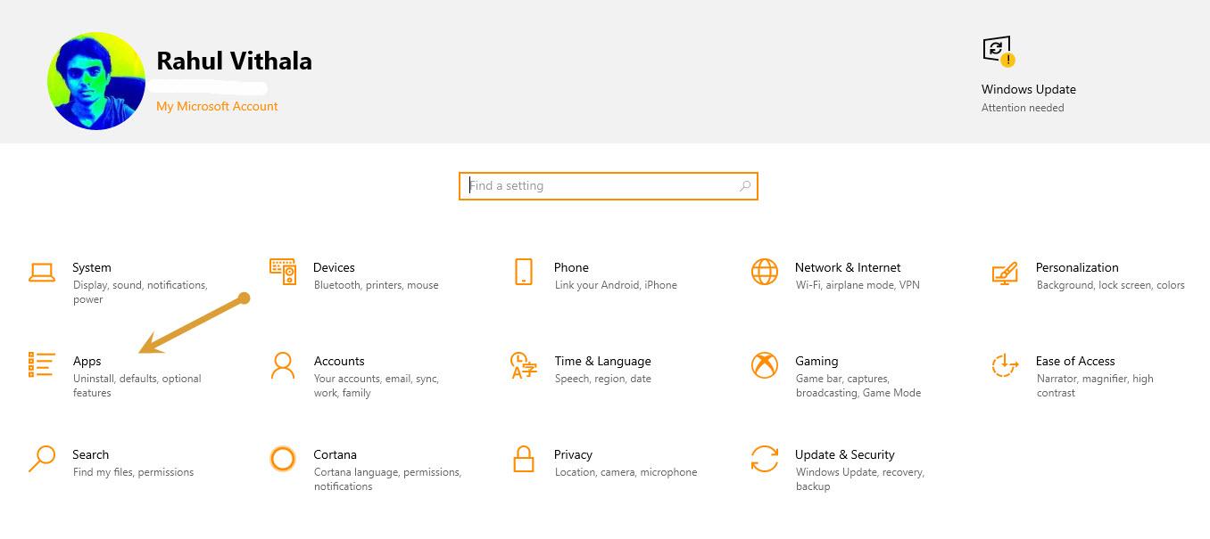 Settings - Apps