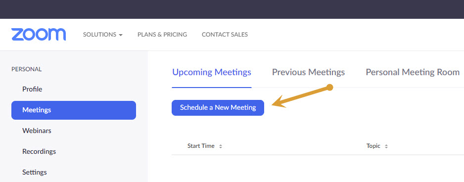 Scheduling a meeting on Zoom web