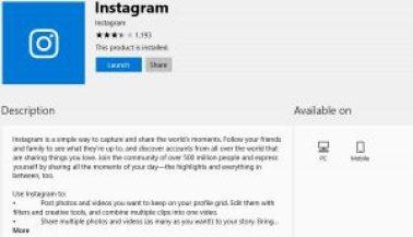 Instagram app in windows 10 to download