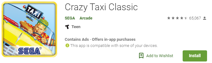 crazy taxi classic retro game