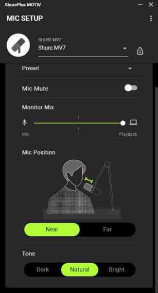 Shure MV7 - Motiv app