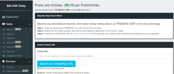 Post and Articles page in paidera.com